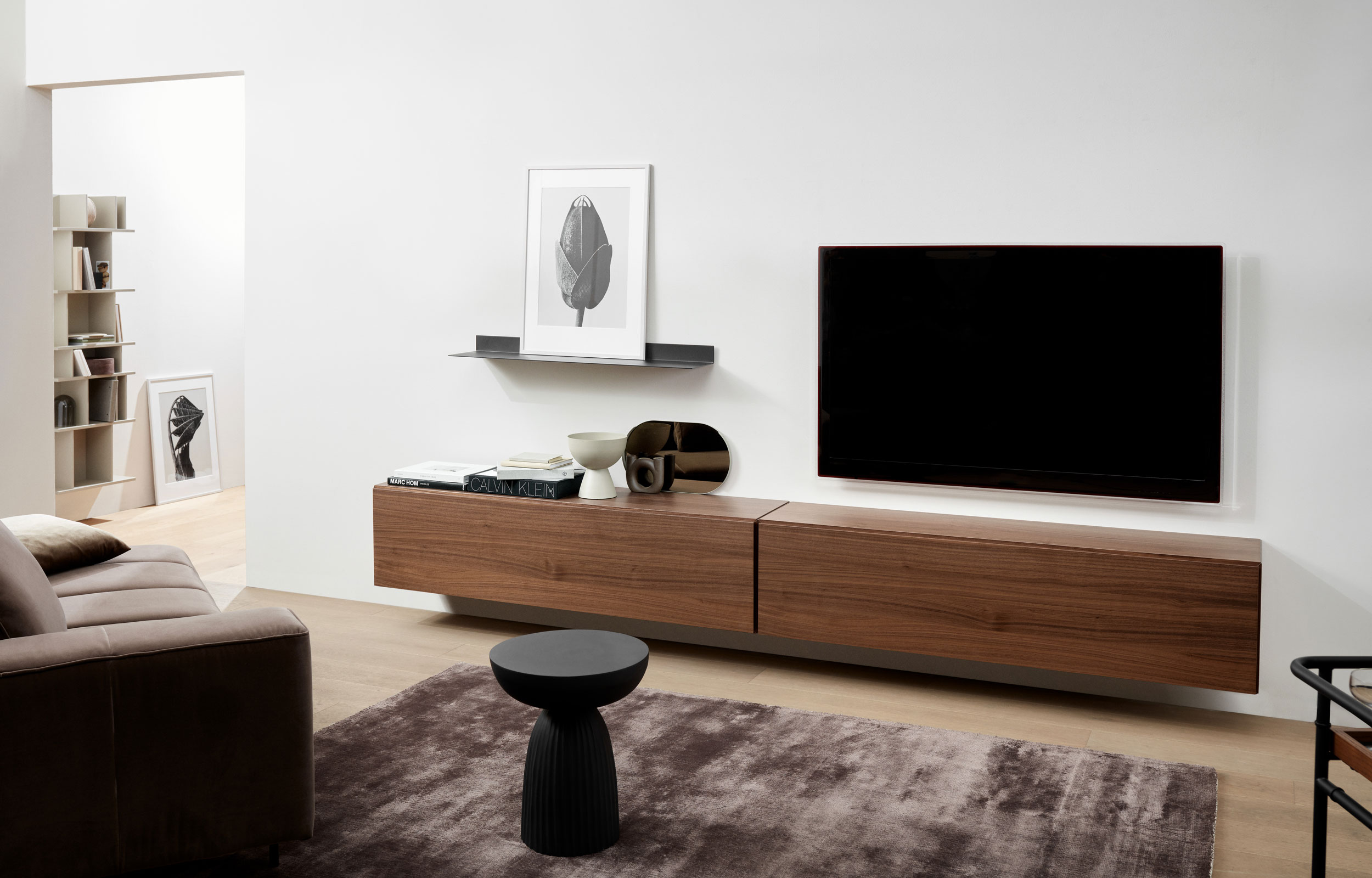 Media room with wall mounted Lugano cabinet in walnut