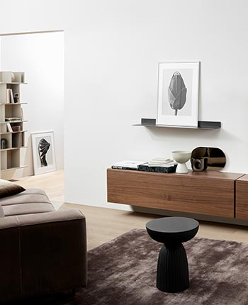 Brown sofa, walnut tv-unit and brown rug.