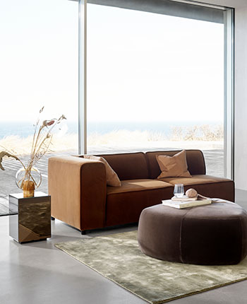 Brown cotton velvet Carmo sofa settin with dusty brown cotton velvet Bermuda footstool