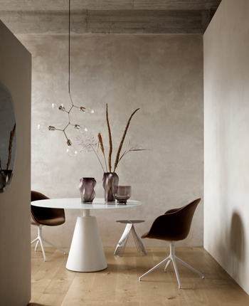 White dining table and brown dining chair