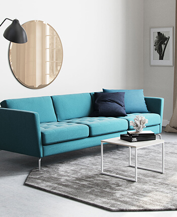 Blue sofa in living room