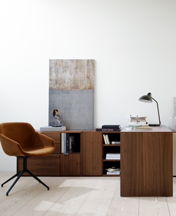 Walnut desk, storage and office chair