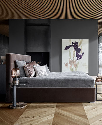 Dark wooden bed