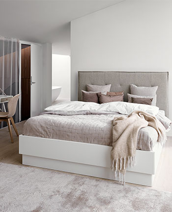 Light white and beige bedroom