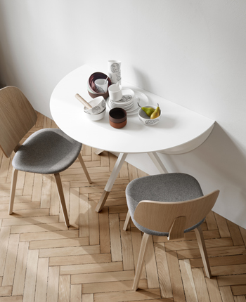 White folding dining table and oak dining chair