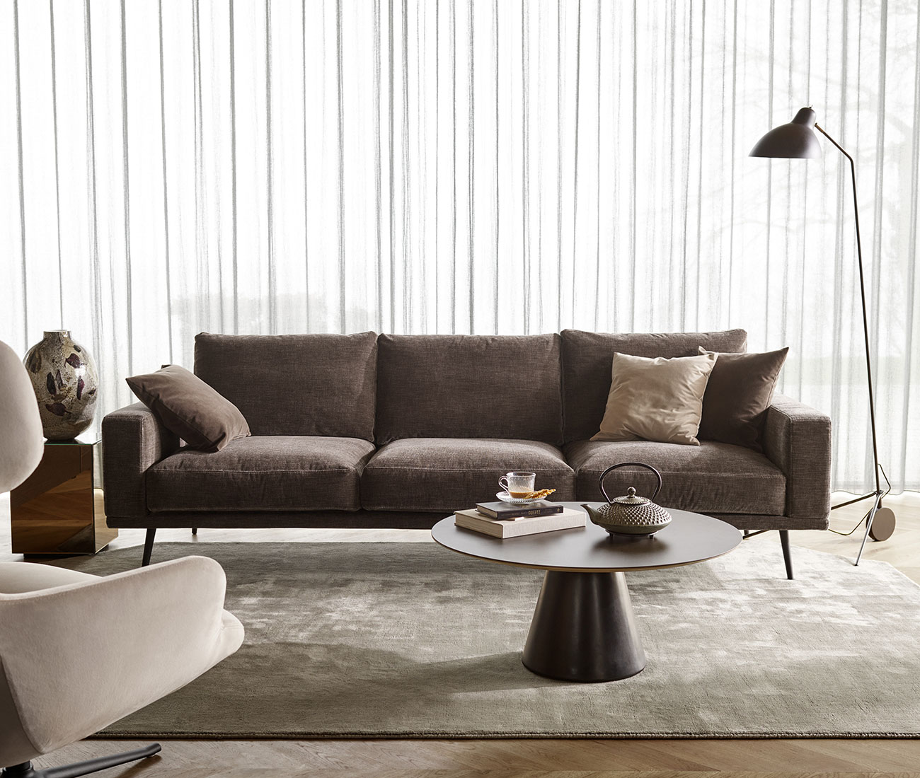 Dusty brown velvet sofa
