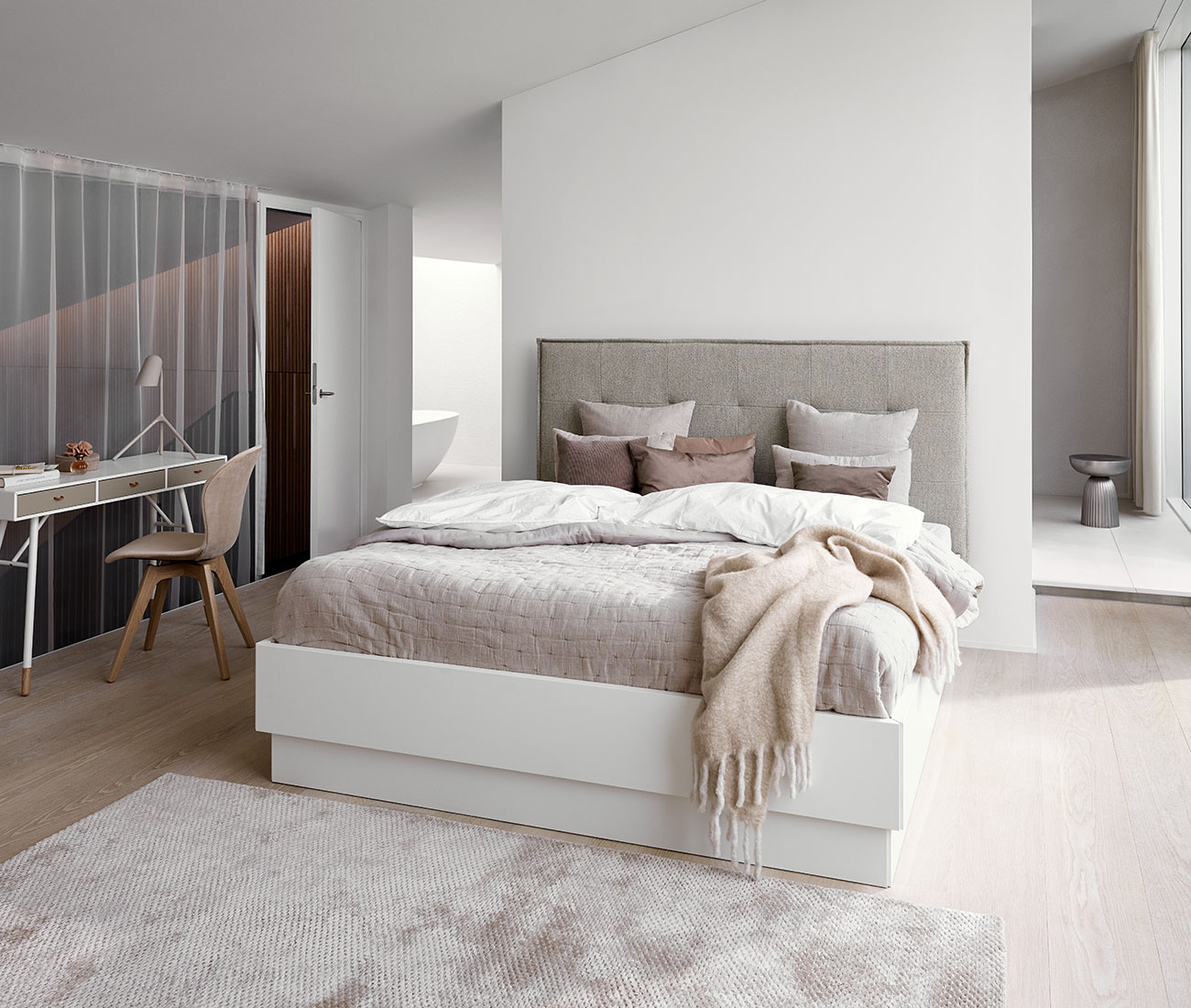 Nordic bedroom with white linens