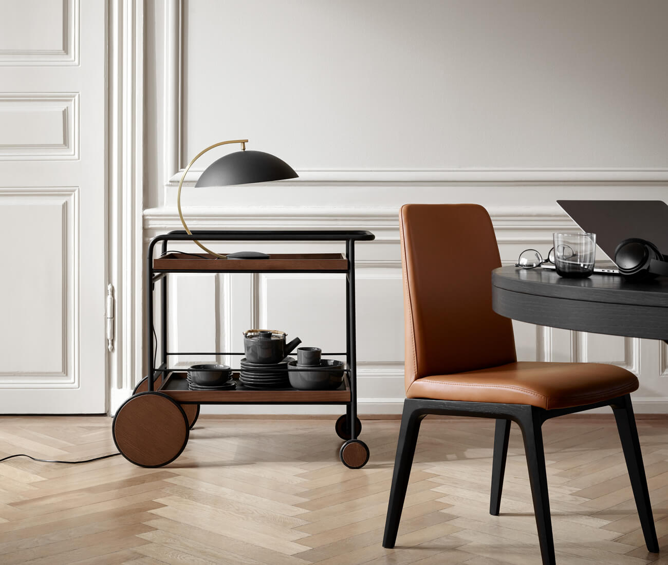 Lausanne dining chair and Sidney trolley