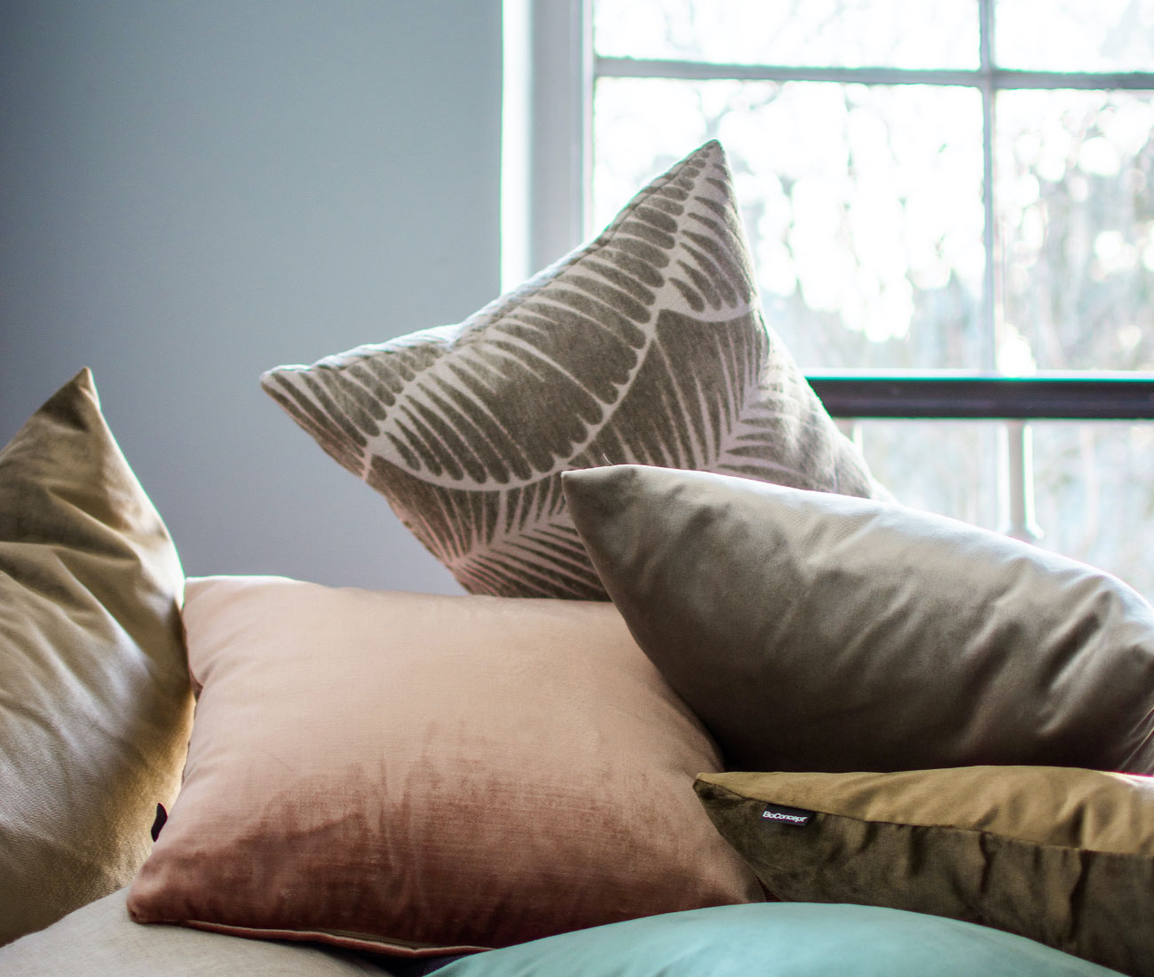 Cushions in different colours