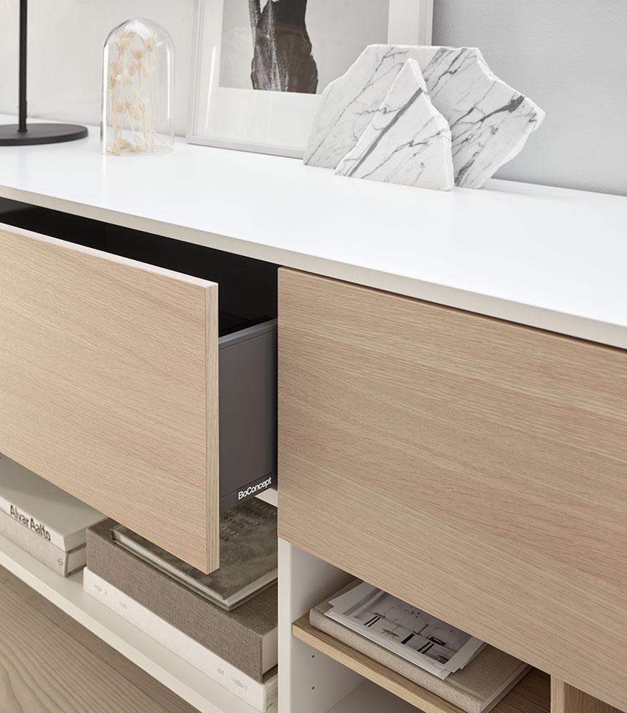 White Manhattan sideboard with oak drawers