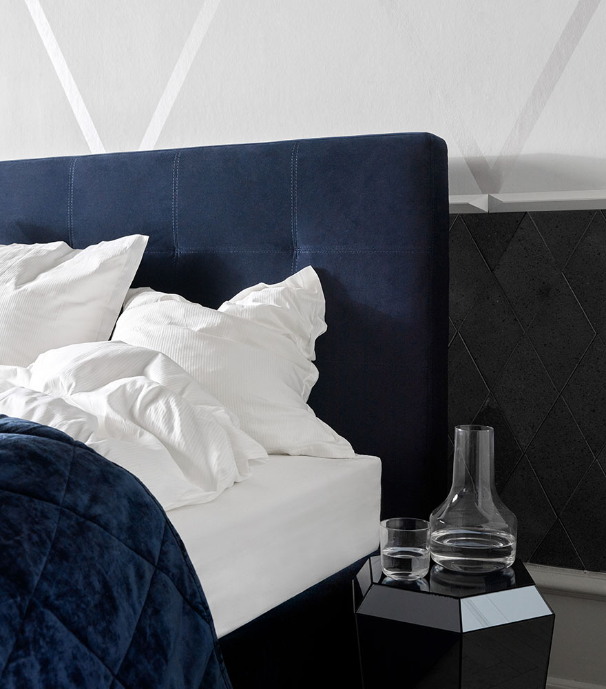 Dark blue velvet bed