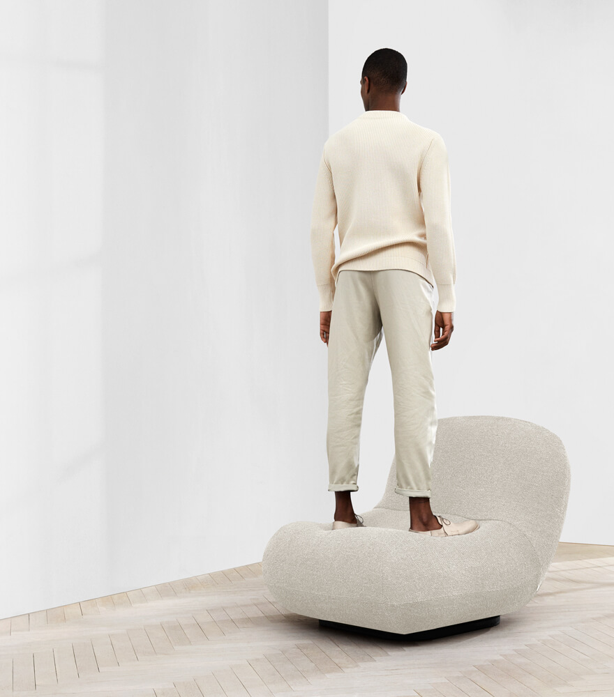 Man standing on the Chelsea chair
