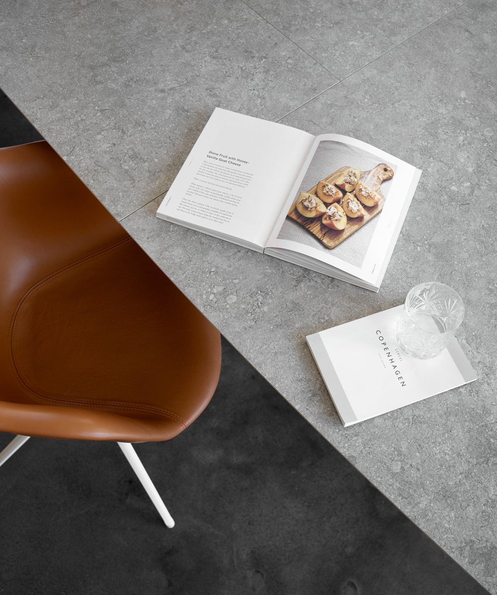 Ceramic table top and the Adelaide dining chair with swivel