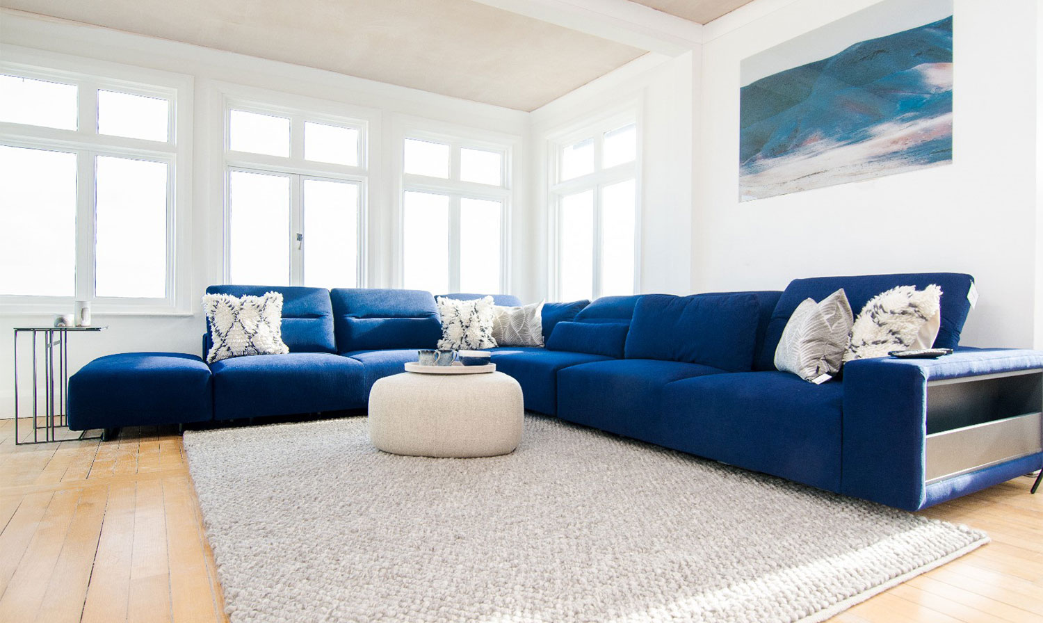 Blue hampton corner sofa with open end
