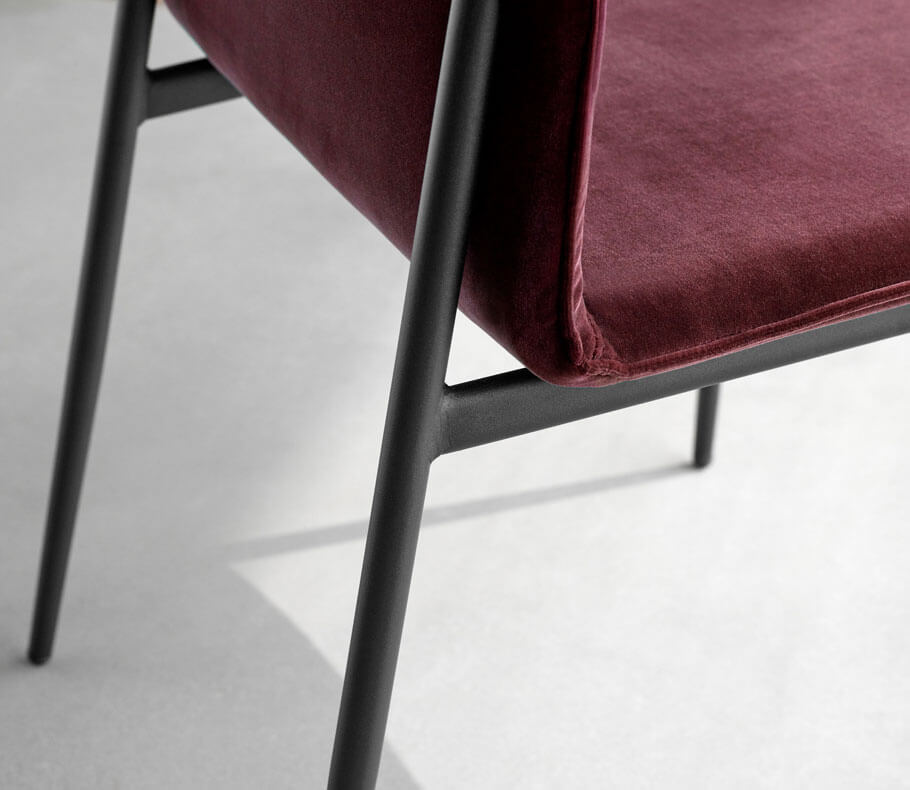 Bordeaux velvet dining chair