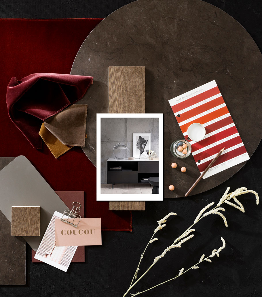 Moodboard with fabrics and photos