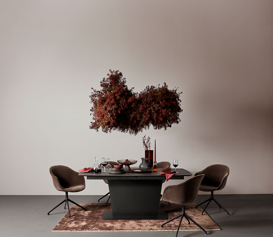 Black Milano table with brown Adelaide chairs and matching brown rug