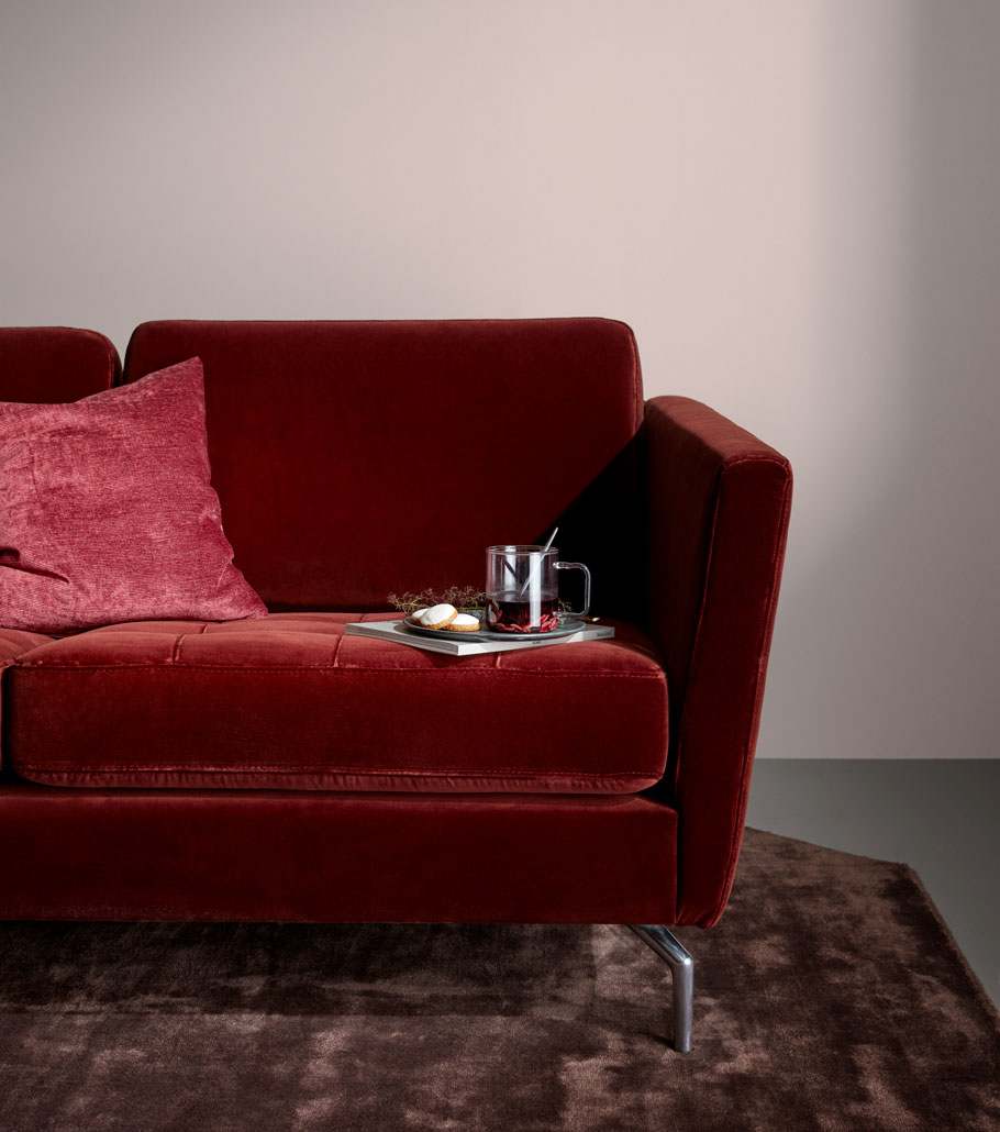 Red velvet Sofa with matching cushion and trey with tea