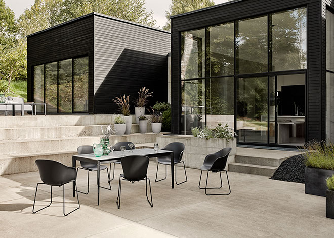 Black Adelaide outdoor chairs and outdoor table