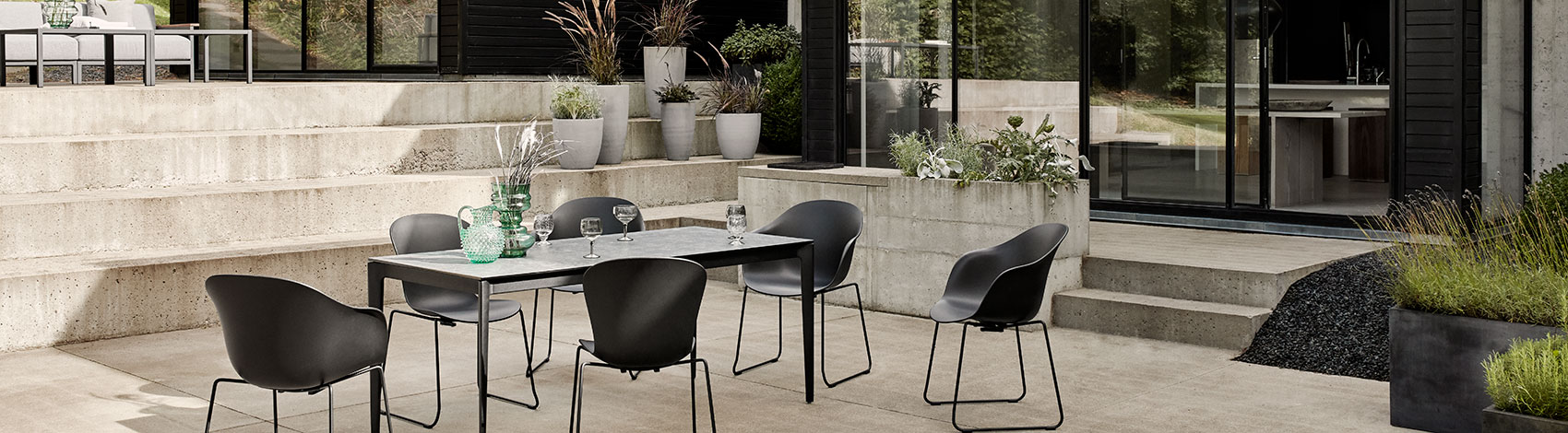 Black Adelaide chairs with outdoor table