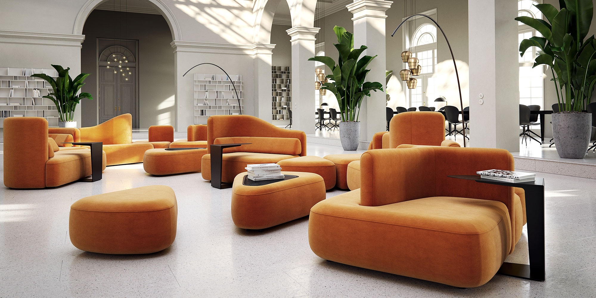Ottowa Sofa collection with poufs and side tables