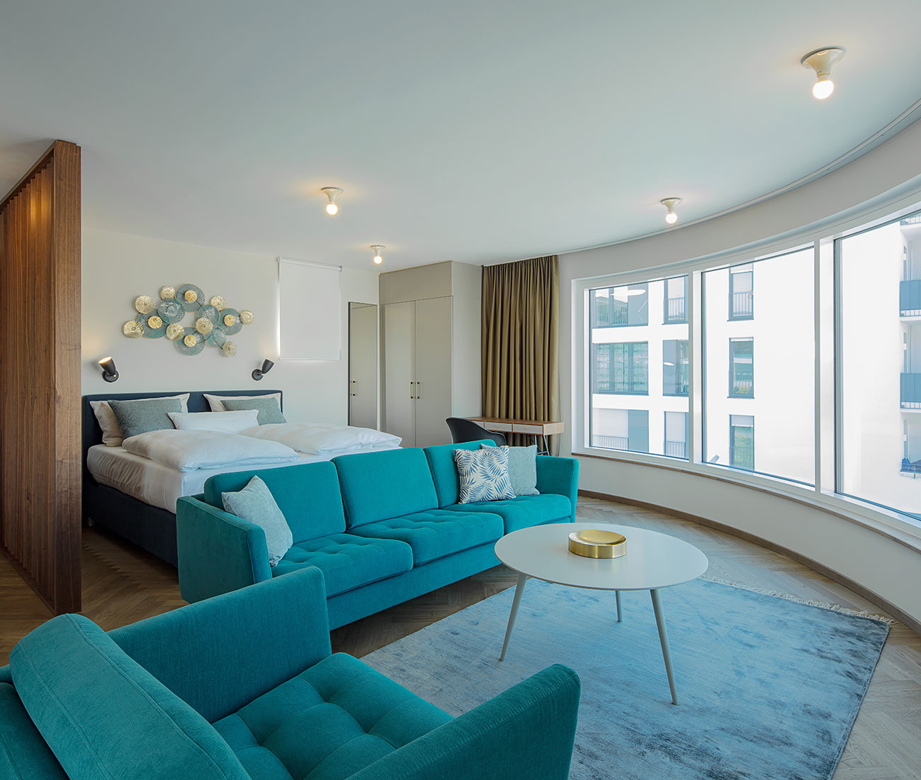 Hotel room inspiration with blue sofas