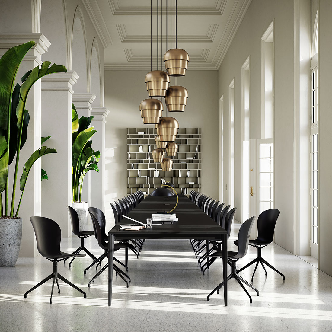 Torino conference tables and Pine Cone lamps