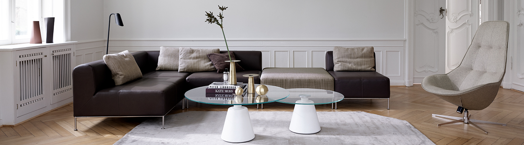 Miami Sofa with footstool and Madrid coffee tables in glass and Boston chair in beige