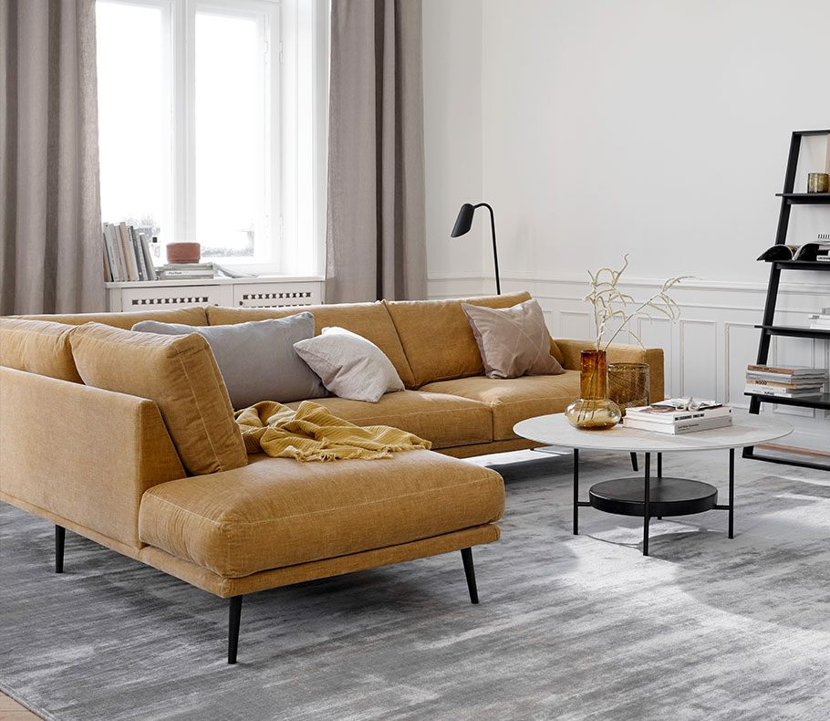 Carlton sofa in golden beige with grey cushions and Madrid coffee table