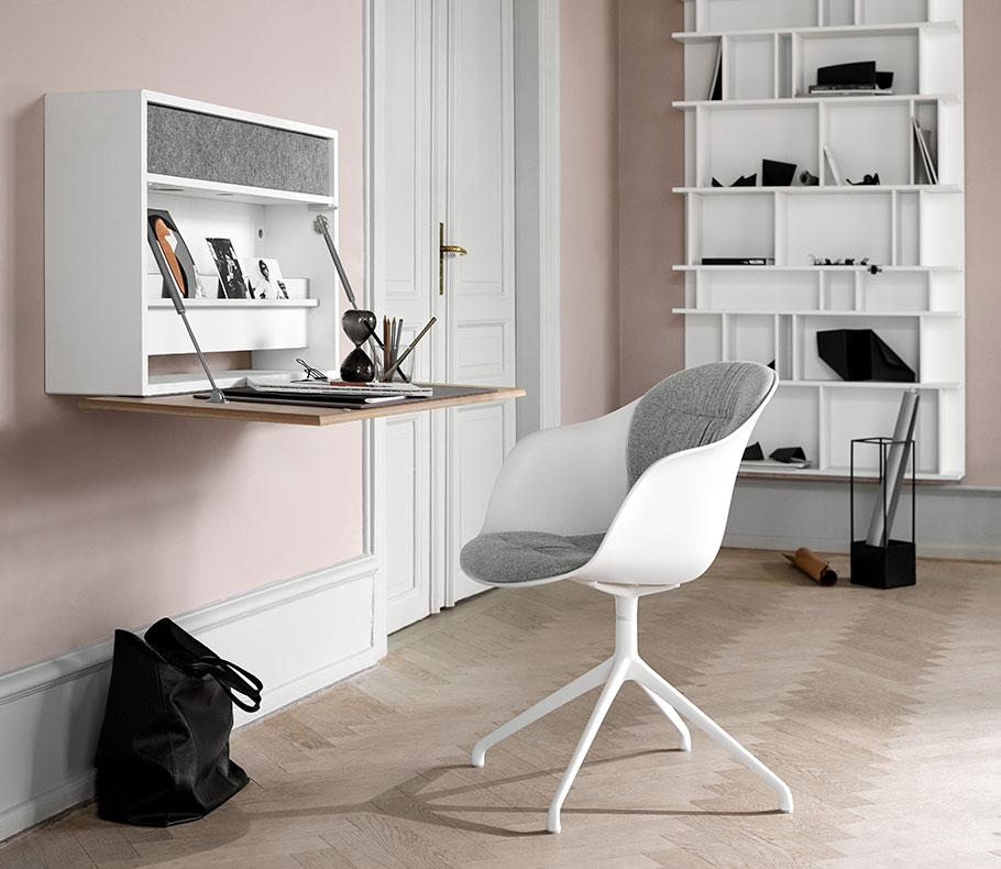 White Adelaide chair with grey fabric seat and swivel function and white Cupertino wall office