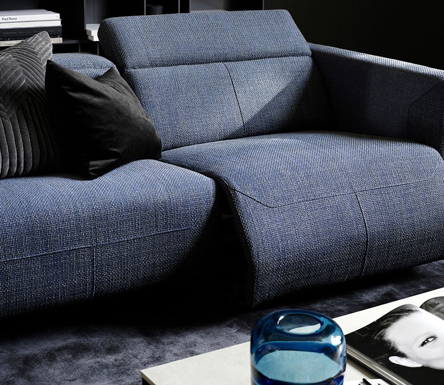 Dusty blue Parma sofa with black and grey cushions