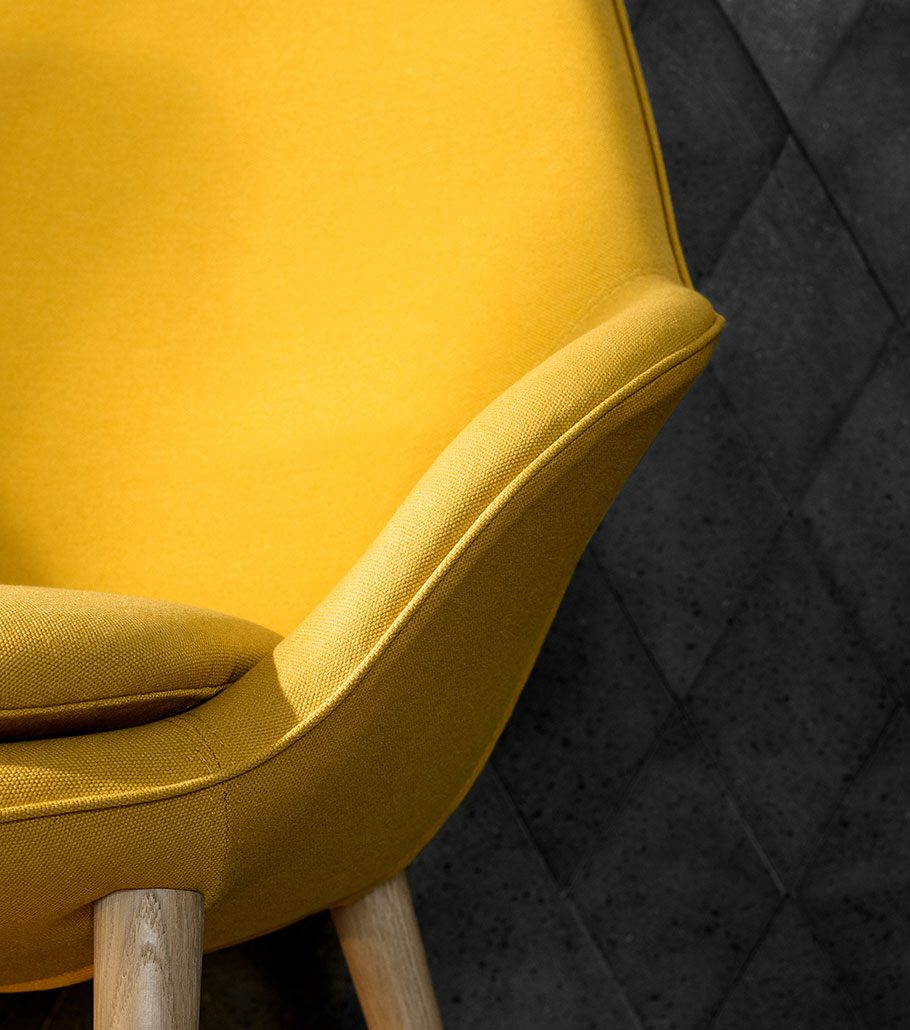 Adelaide living chair in yellow with oak legs and