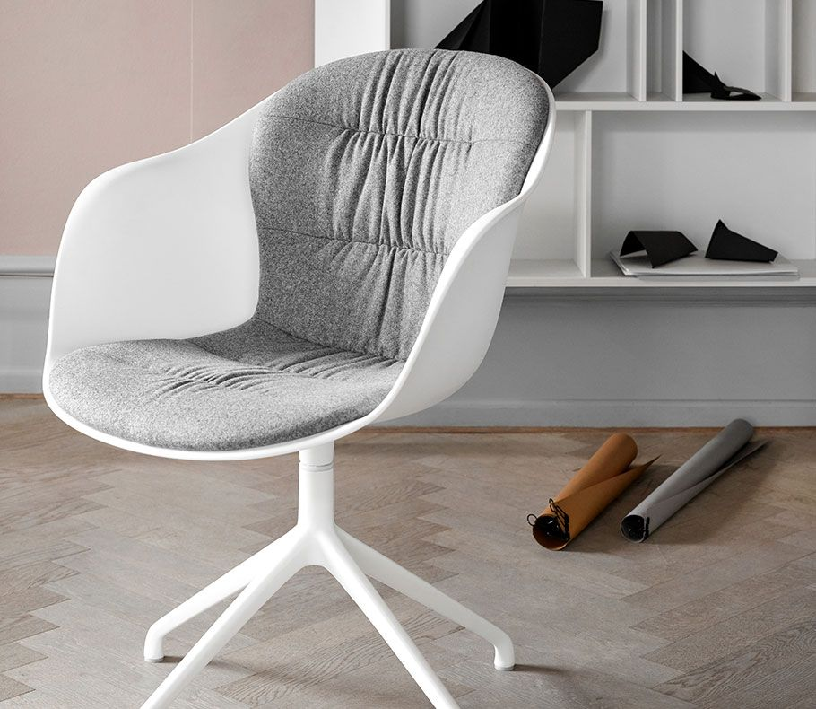 Adelaide chair in a white shell with grey upholstery and swivel function