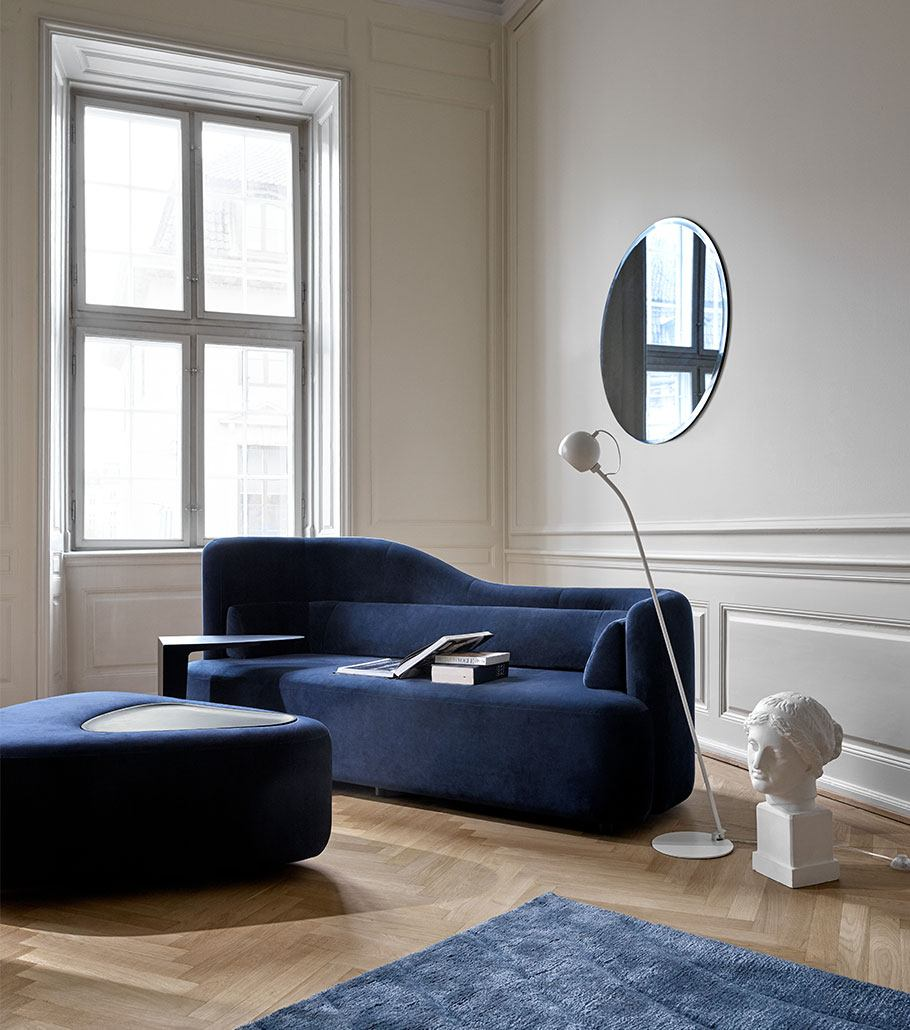 Dark blue Ottawa sofa with matching pouf
