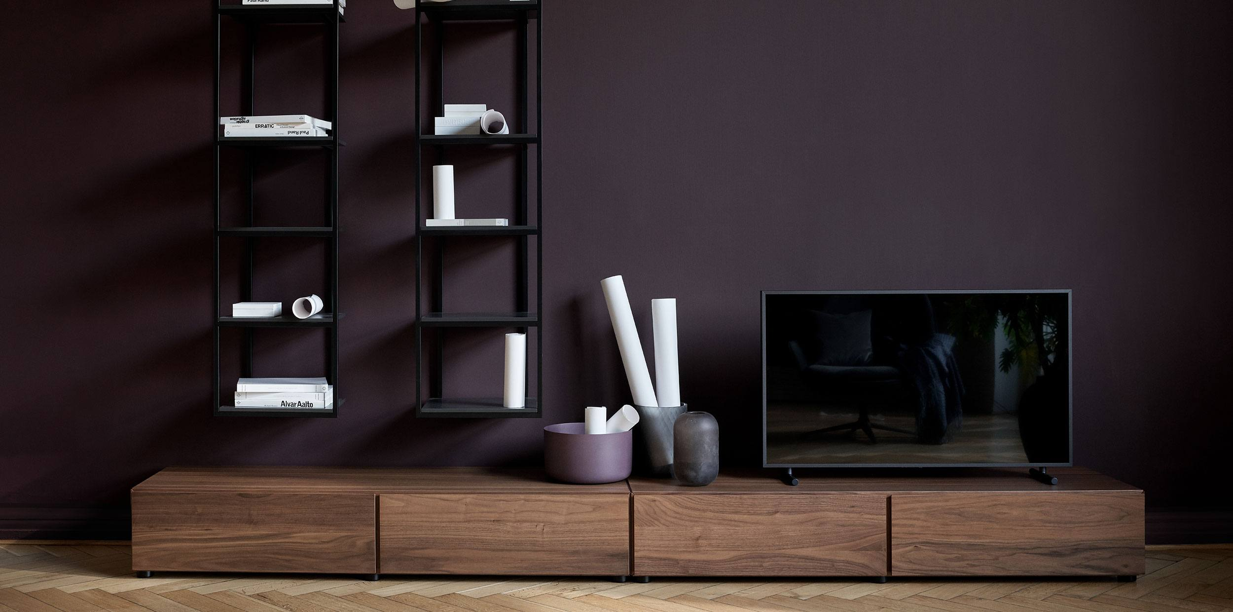 Lugano tv units in walnut veneer and charcoal grey Bordeaux wall systems with matt black structure