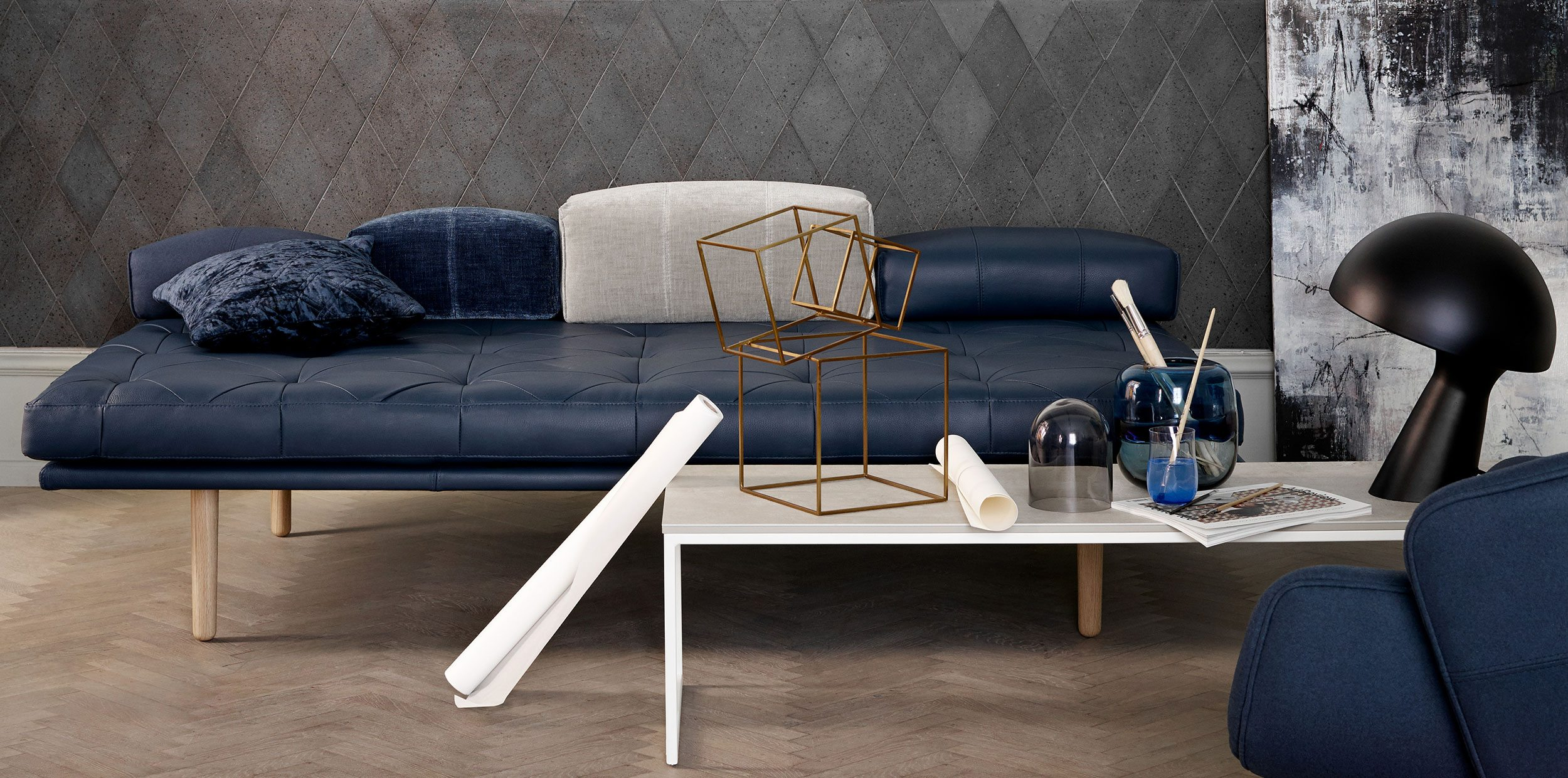 Blue Fusion daybed with oak legs and white coffee table