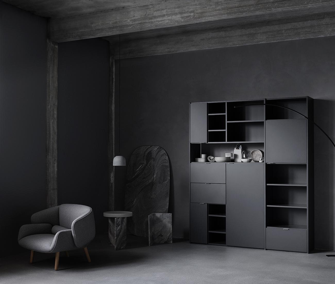 Dark living room inspiration with black Copenhagen wall system