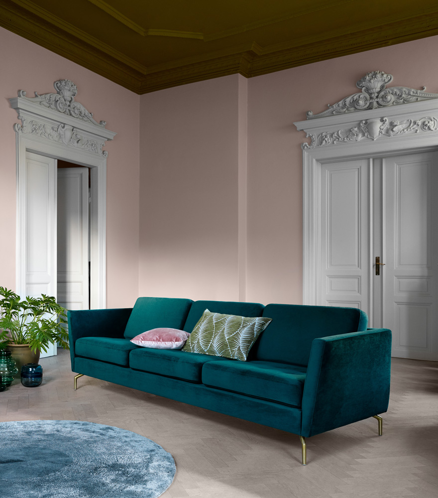 Living room inspiration with dusty green sofa