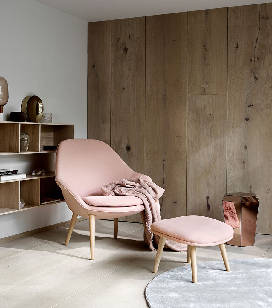 Pink Adelaide arm chair and footstool