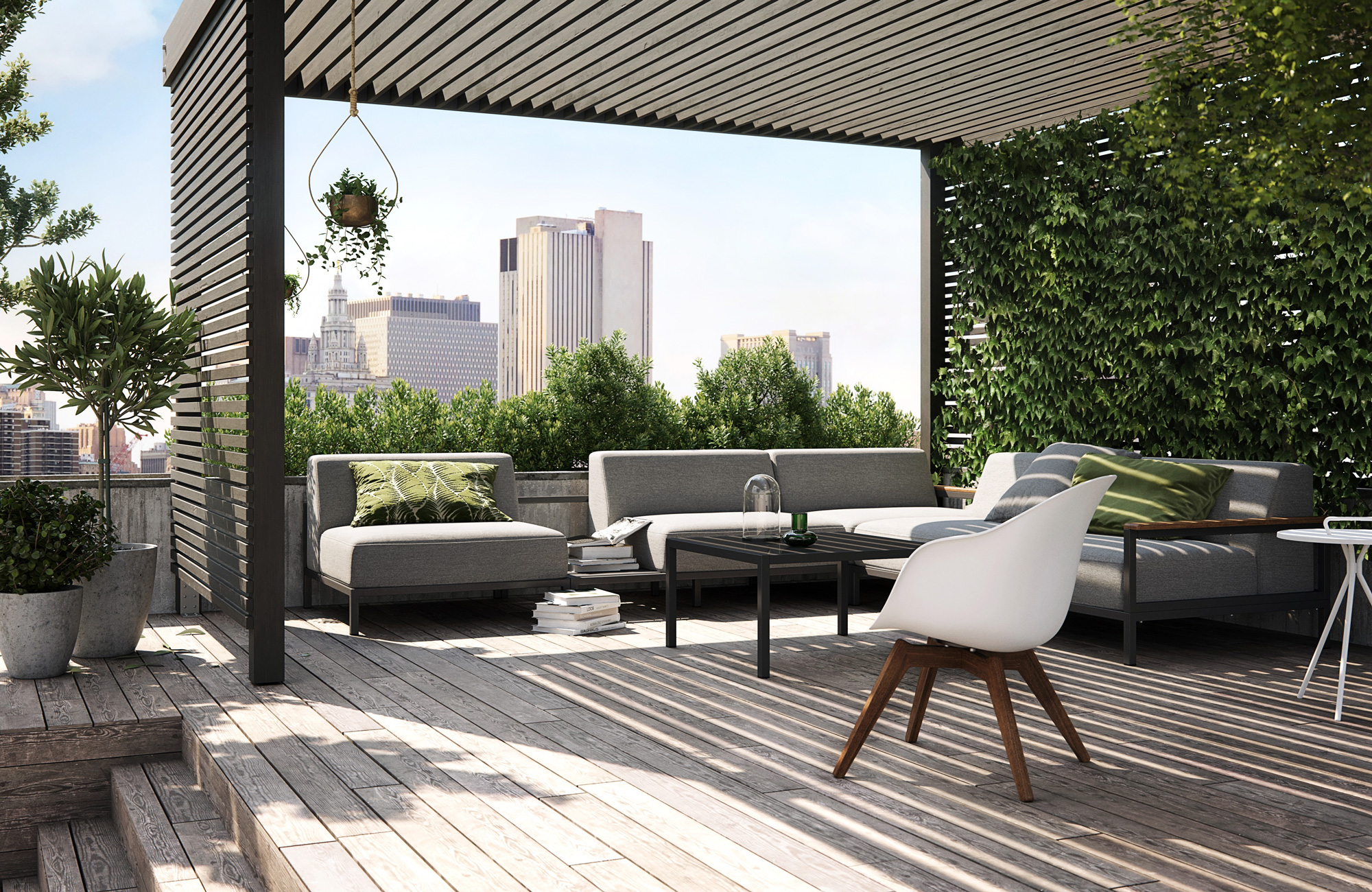 Grey outdoor lounge set