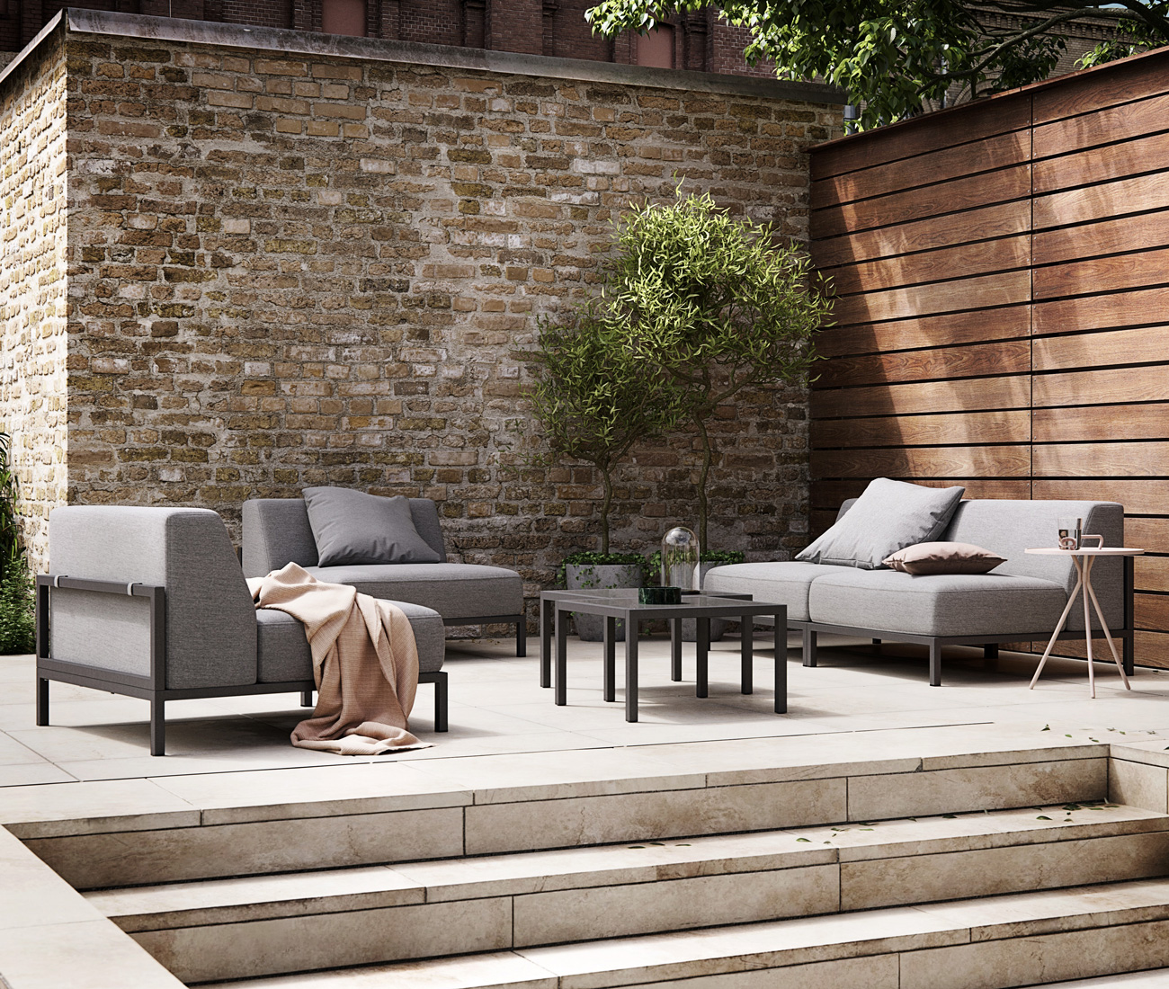 Grey outdoor lounge set