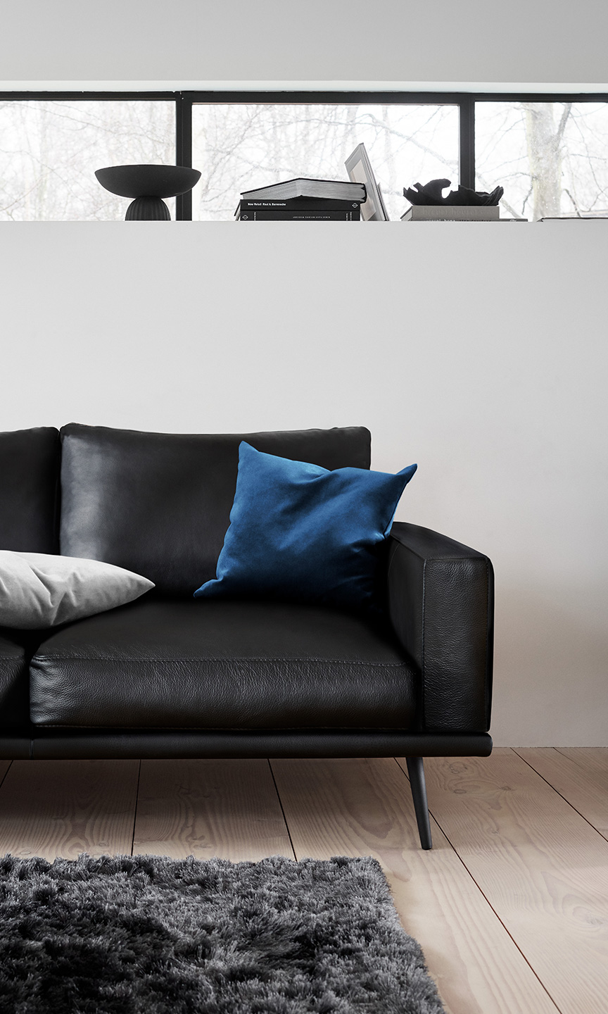 Black leather sofa with blue velvet cushion and grey rug