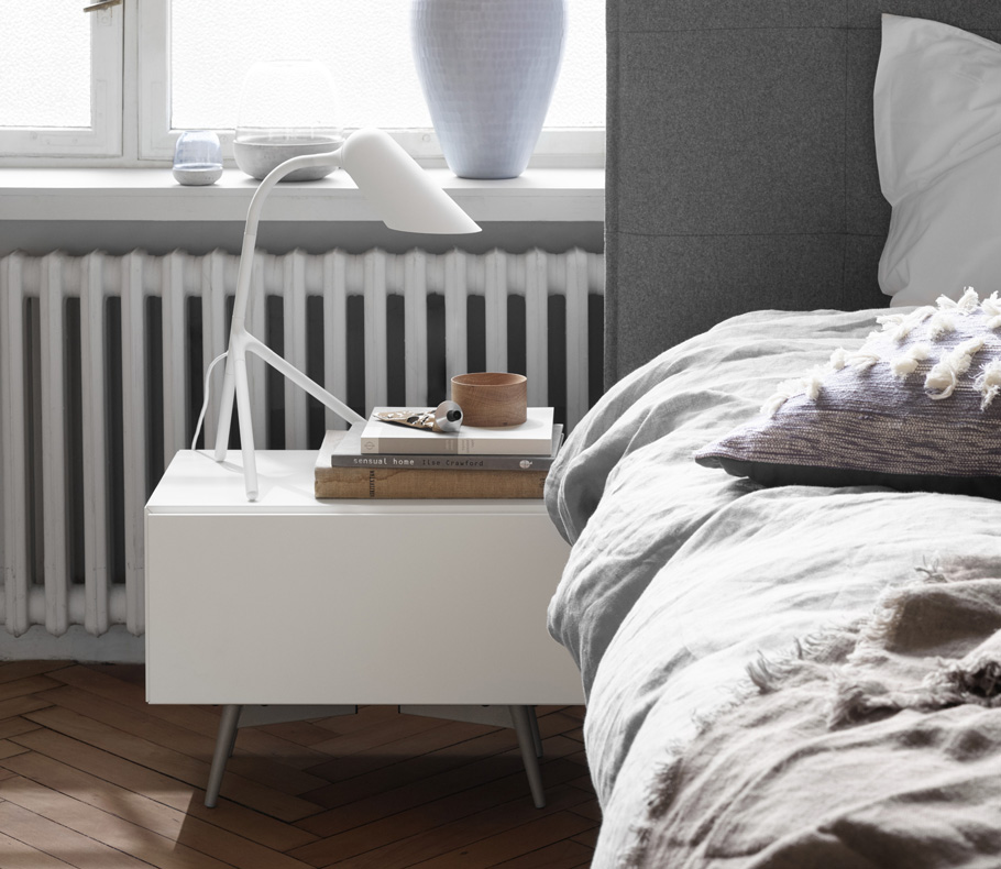 Laguno white nightstand with storage