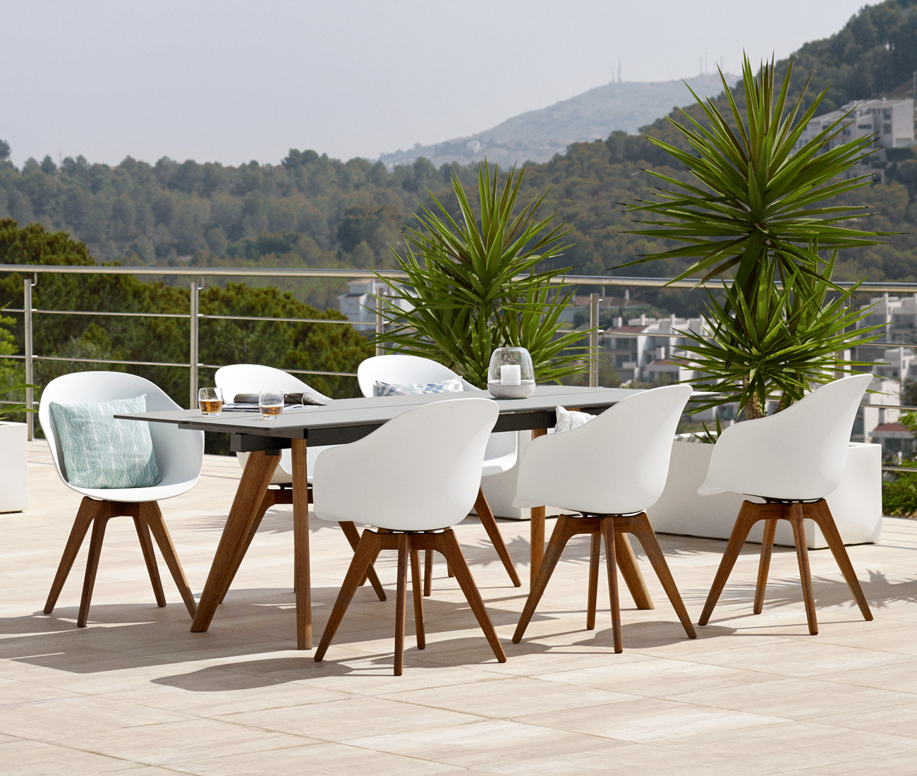 Outdoor Adelaide dining table and chairs in white with eucalyptus legs