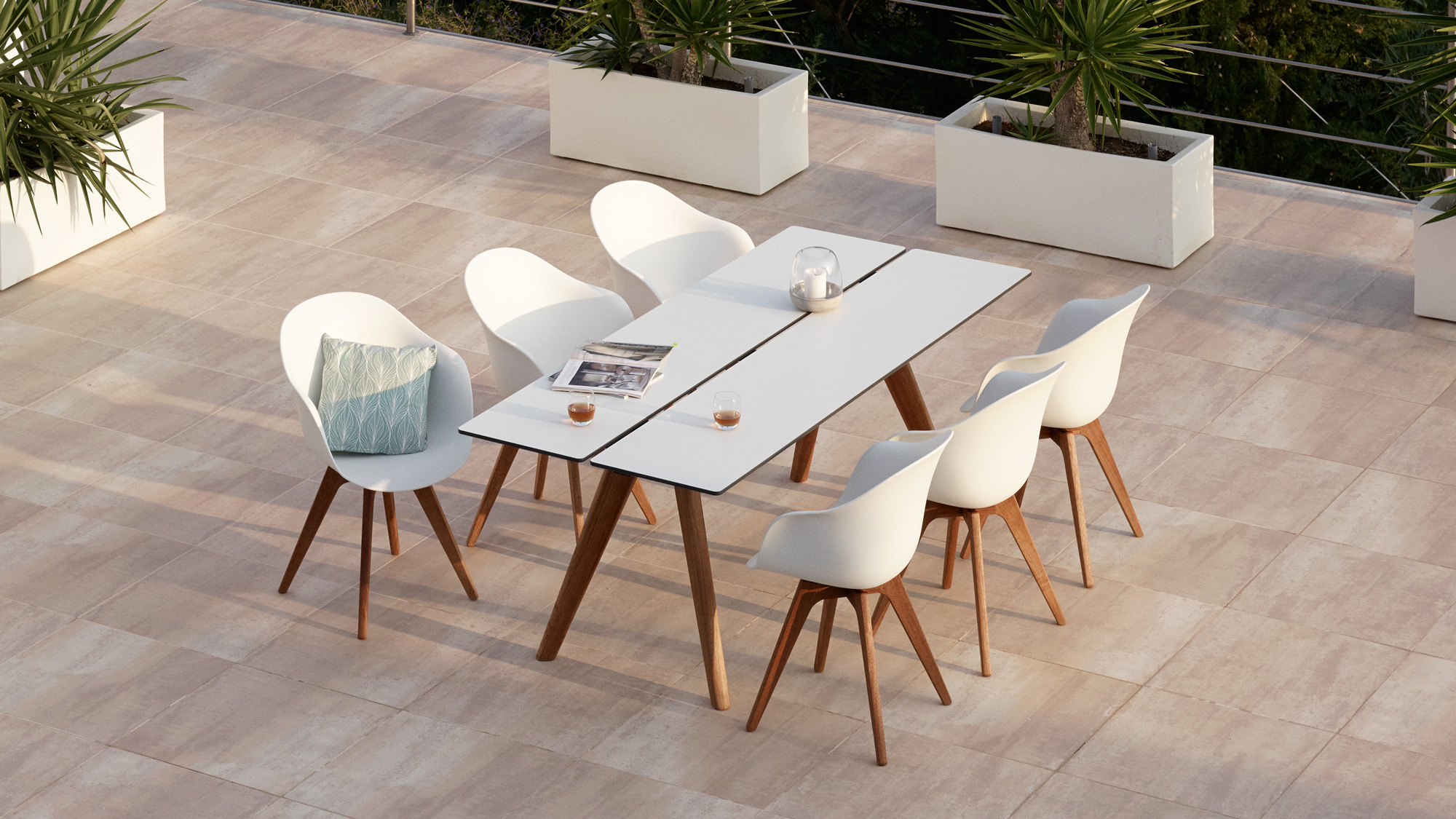 White outdoor Adelaide dining table and chairs with eucalyptus legs