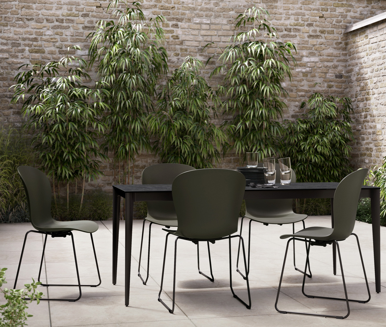 Black outdoor Torino dining table and black outdoor Adelaide dining chairs