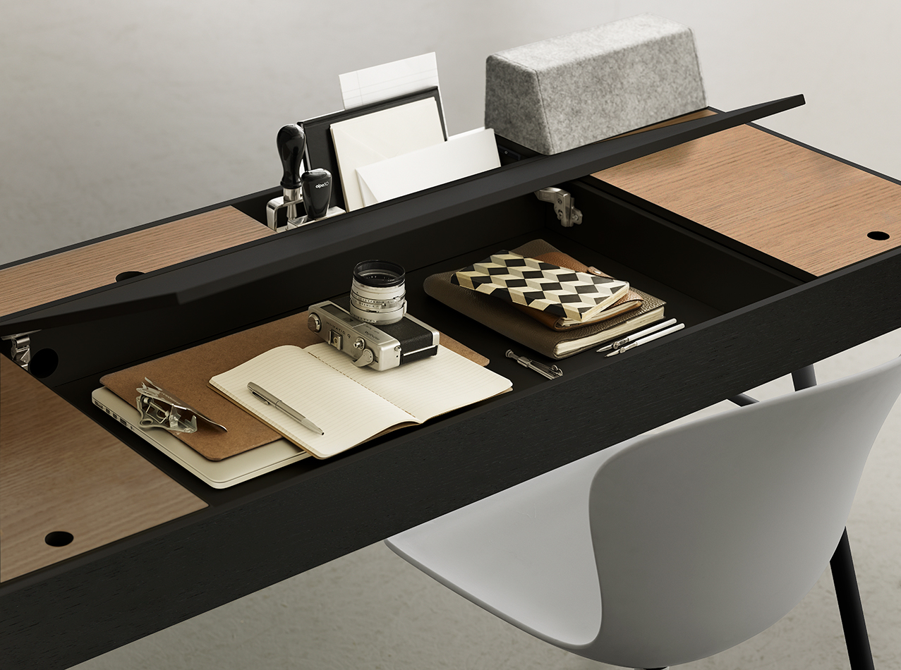Black Cupertino desk with hidden table drawers