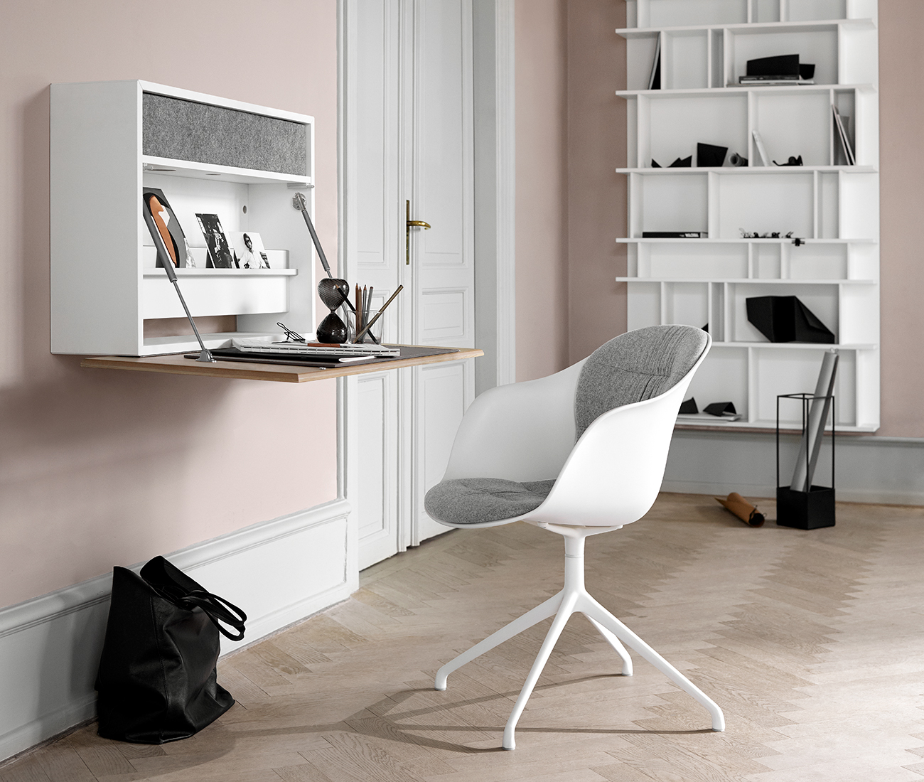 Cupertino Wall office in white with matching Adelaide chair