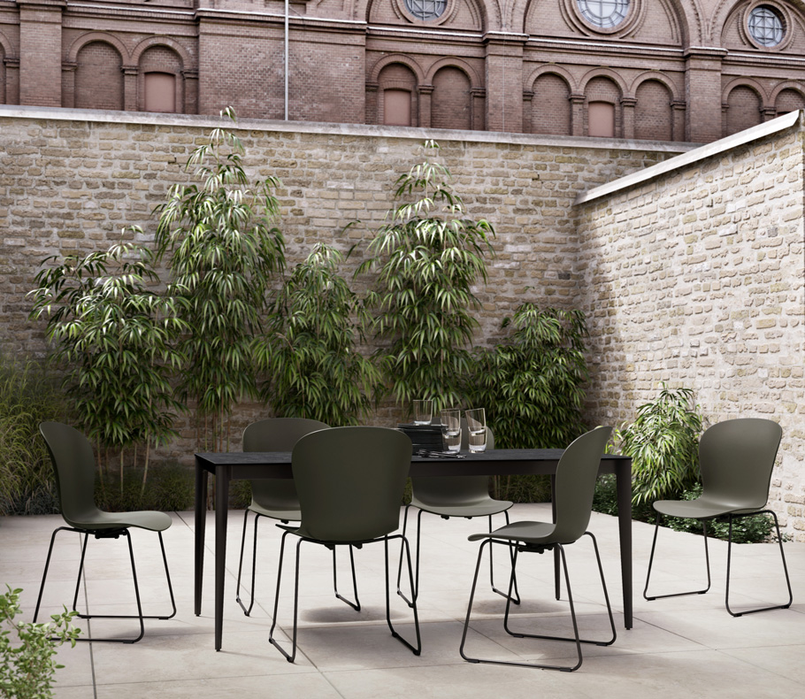 Black outdoor Torino dining table and black Adelaide outdoor chairs