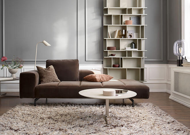 Dusty Brown velvet Amsterdam sofa and Sevilla coffee table